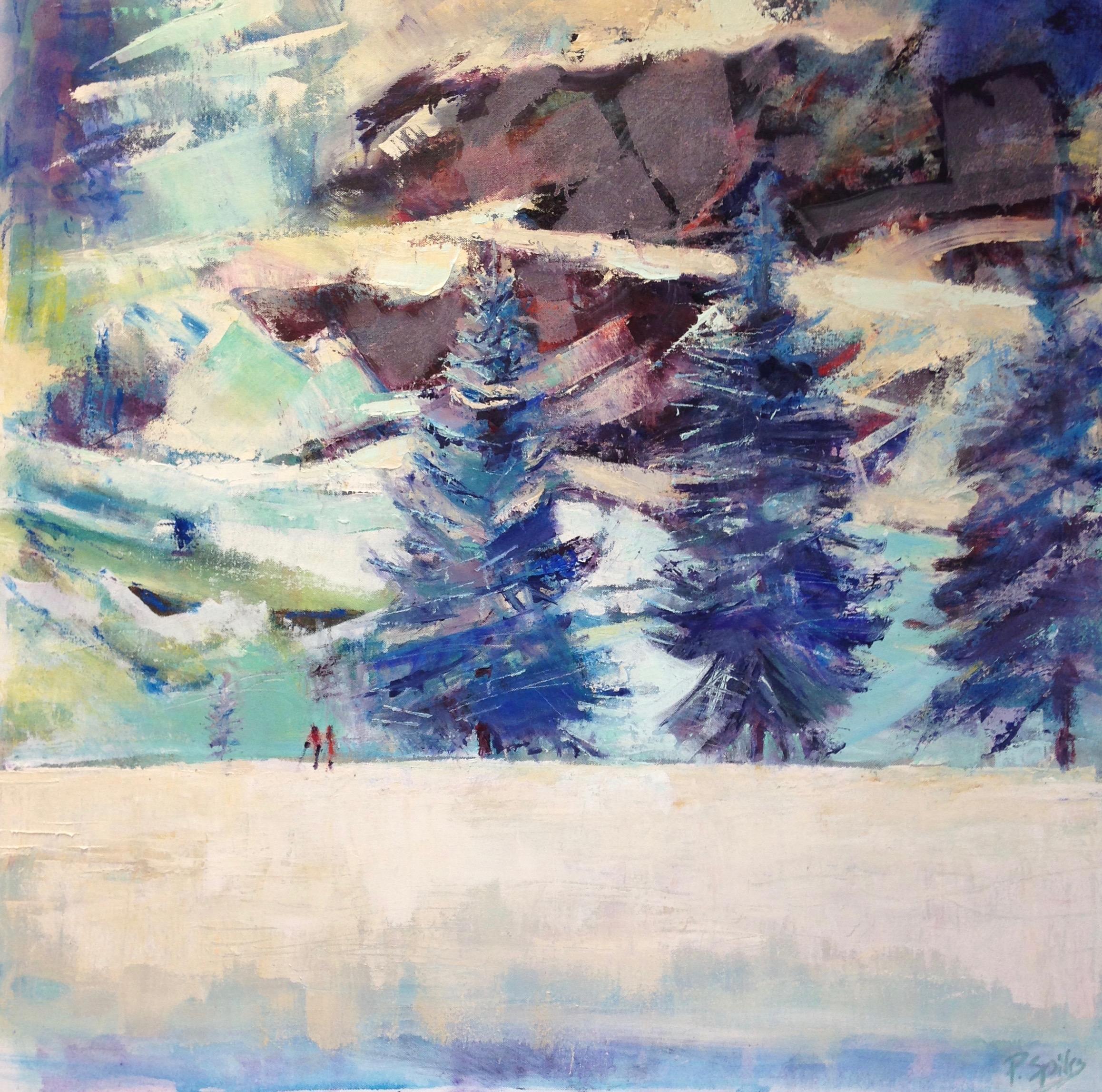 Promenade en hiver Pippa Spiers 90 x 90cm, oil on canvas