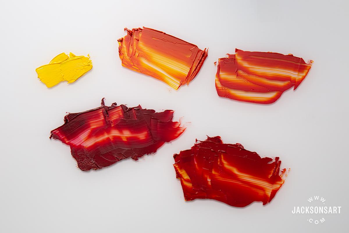 Alizarin Crimson mixtures with Cadmium Yellow Light Hue