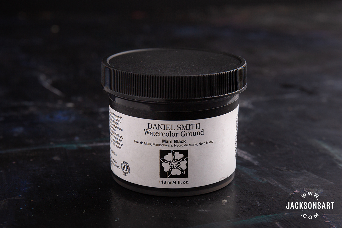 118ml pot of Daniel Smith Watercolour Ground in Mars Black