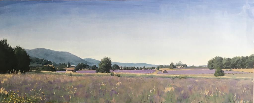 Lavender Fields Near Sault Sam Rachamin Oil on wood 123 x 50.5 cm