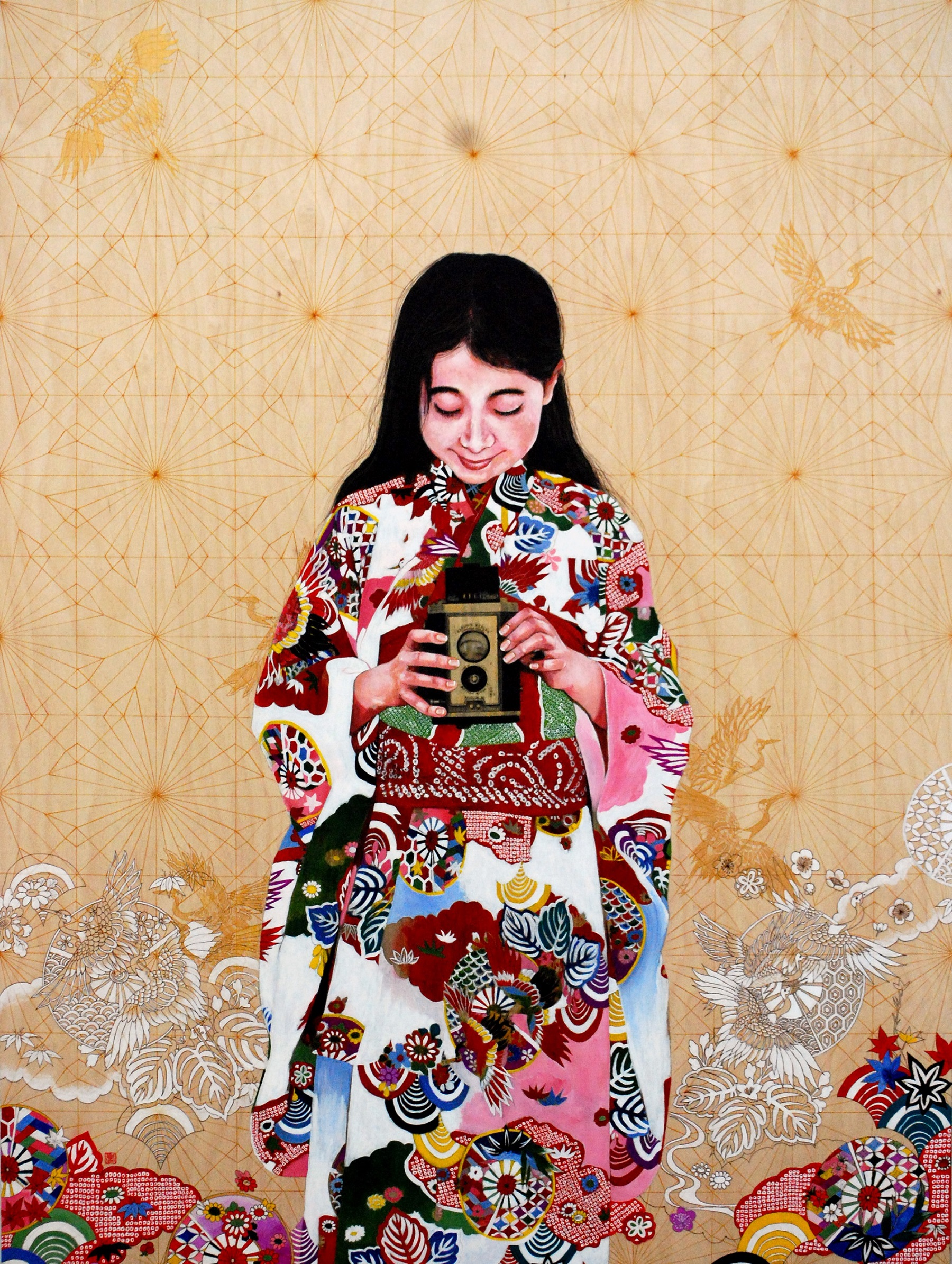 Viewfinder II, 2019 Kae Sasaki oil and gold-leaf on panel, 122 x 91 cm