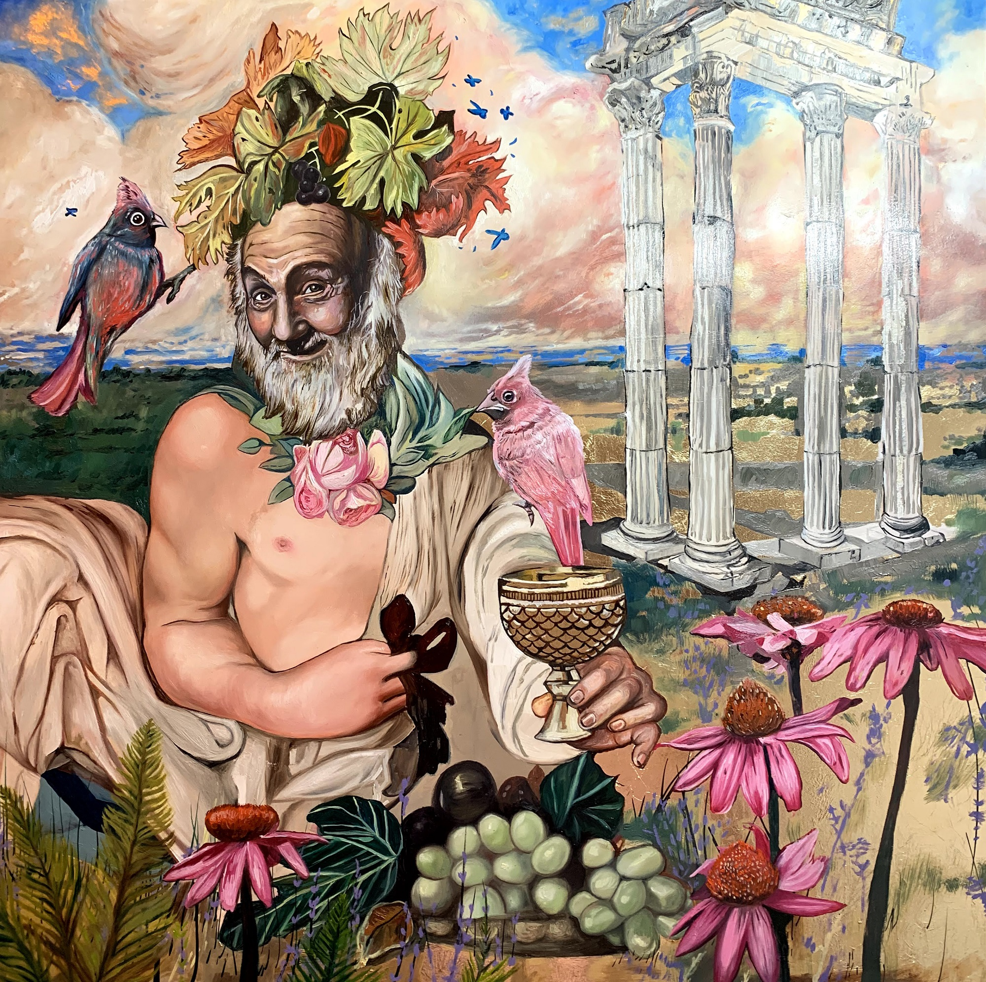 Bacchus, 2020 Amanda Mulquiney Oil and Gold Leaf on Gesso Panel, 61 x 61 cm