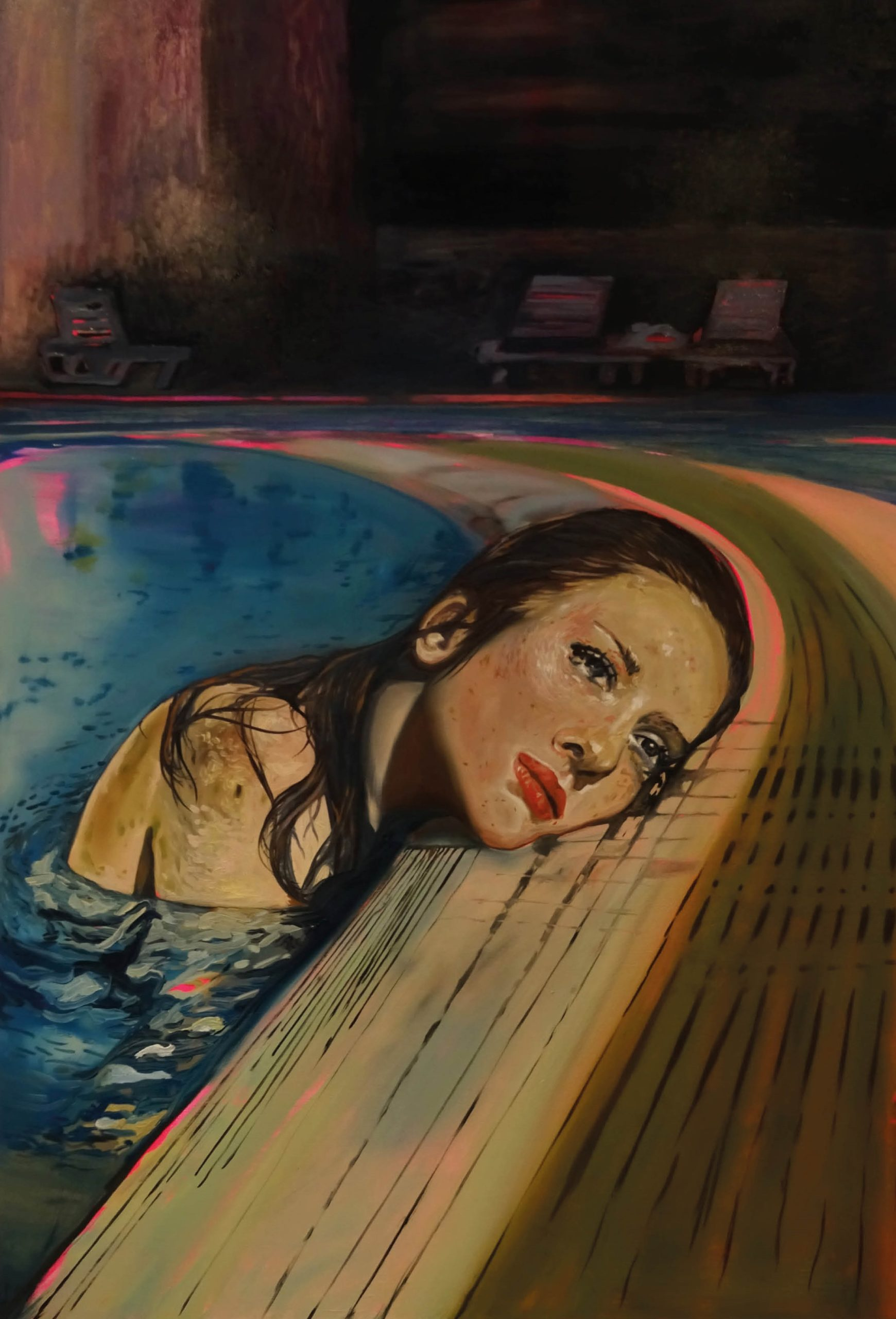 Blue Pool, 2019 Amanda Mulquiney Acrylic and Oil on Wood, 92 x 62 cm