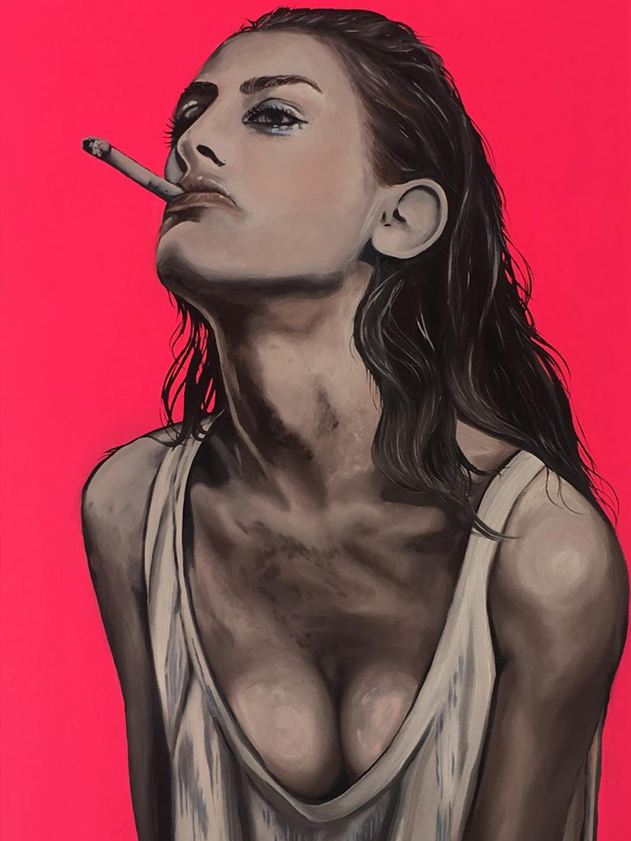 Smoky Lady Amanda Mulquiney Acrylic & Oil Wood, 95 x 64cm