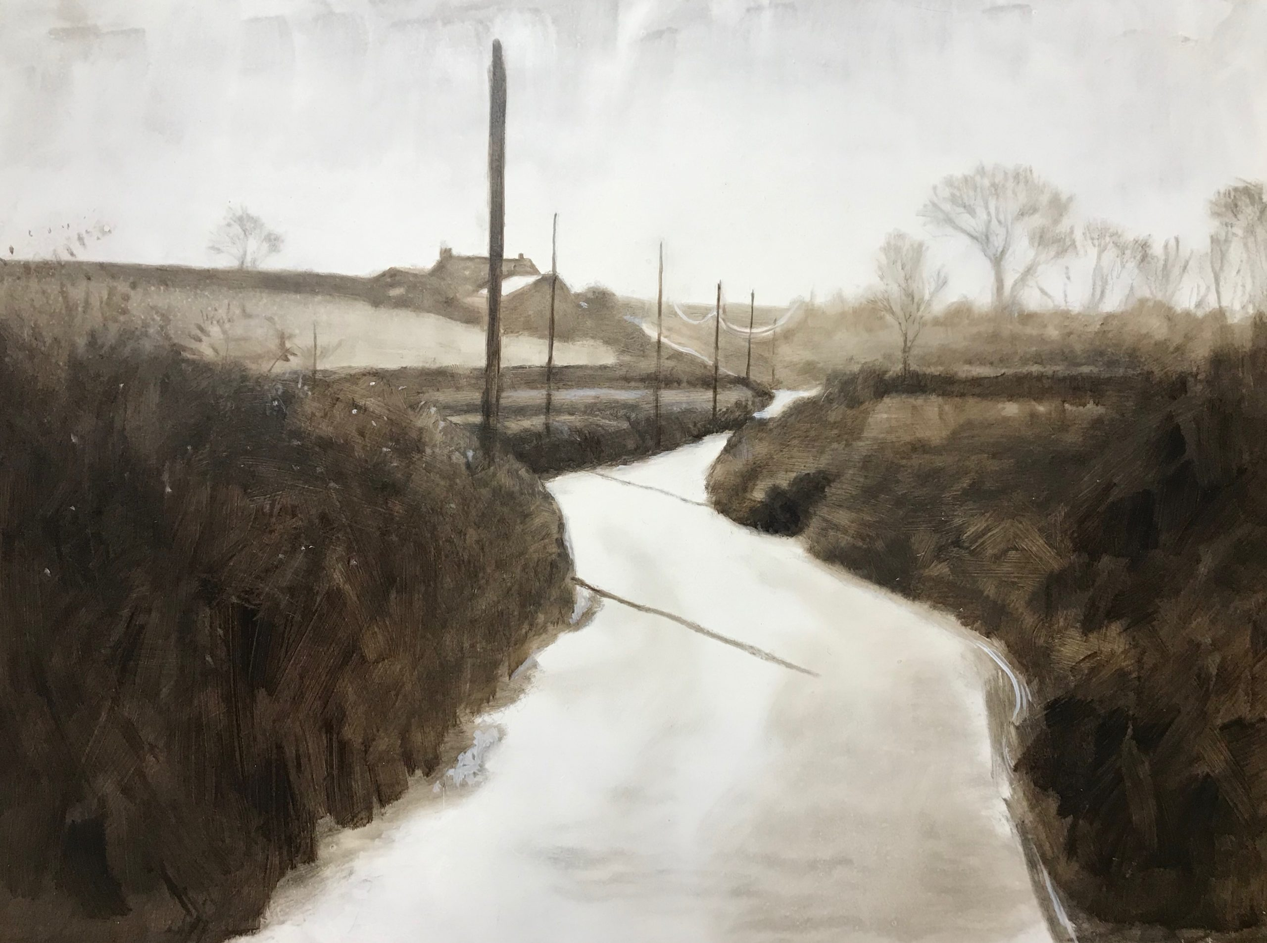 <br><em>Back road to Salcombe</em>, 2019<br>Greg Ramsden<br>Oil on panel, 30 x 40 cm