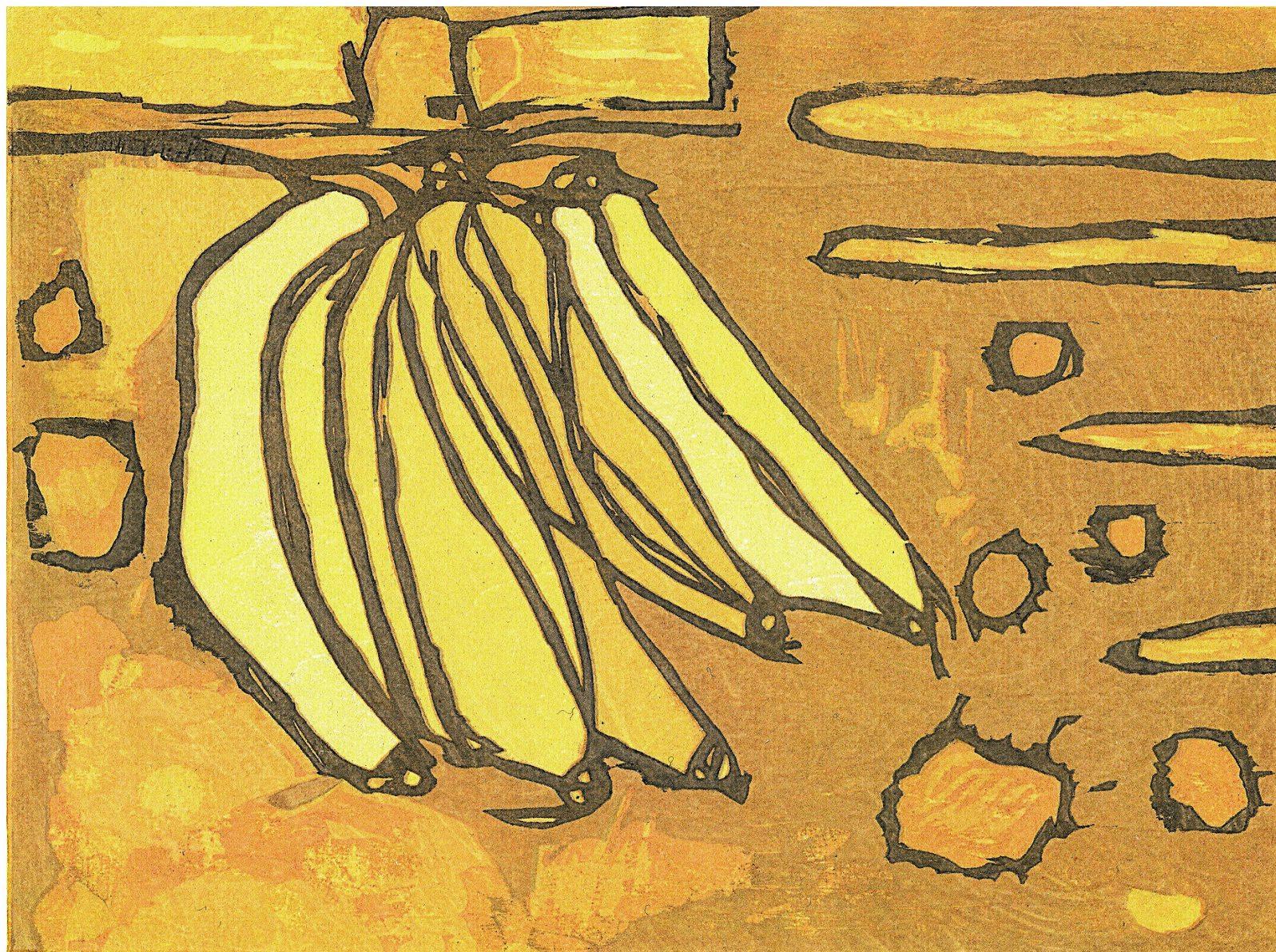 Flotteur de banane Adrian Holmes Gravure sur bois sur Awagami Okawara Select 51gsm, Edition 15