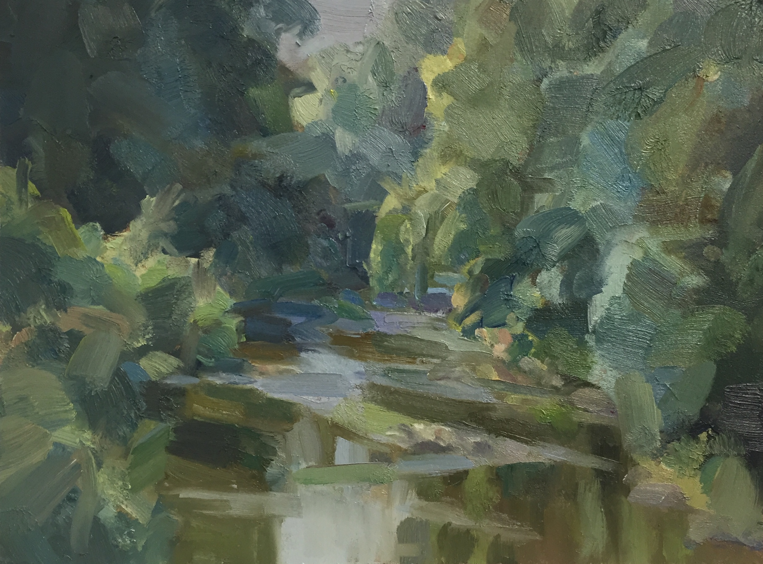 Summer stream with willows, 2020 Tim Benson oil on board, 12 x 16 in