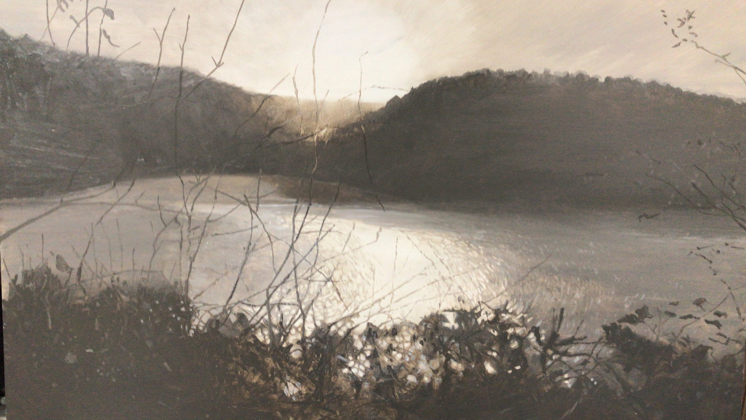 <br><em>Looking over to Mill Bay</em>, 2020<br>Greg Ramsden<br>Oil on panel, 30 x 40 cm