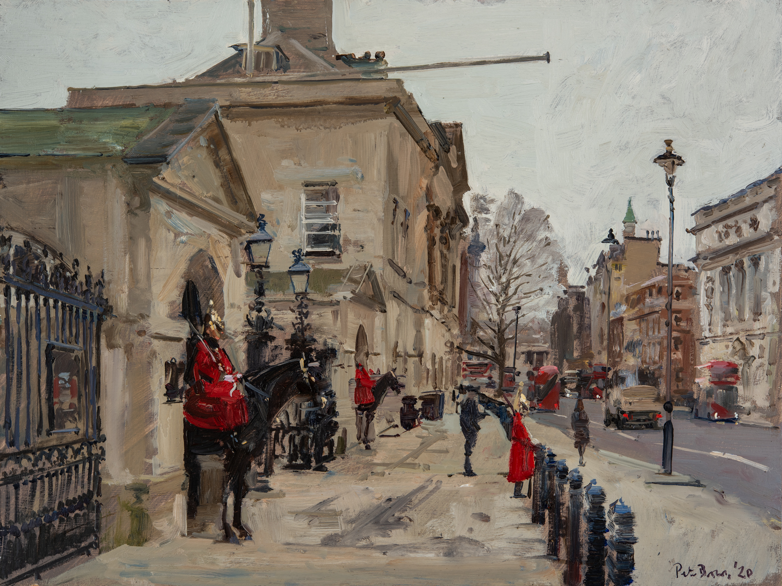 Queens Guard the Day before Standing Down, 2020 Peter Brown oil on board, 12 x 16 in