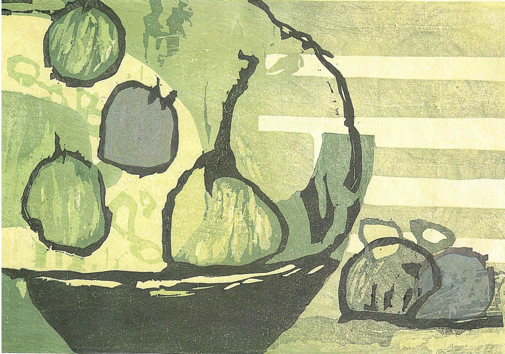 Gravure sur bois poire et citron vert sur Awagami Okawara Select 51gsm, édition de 12