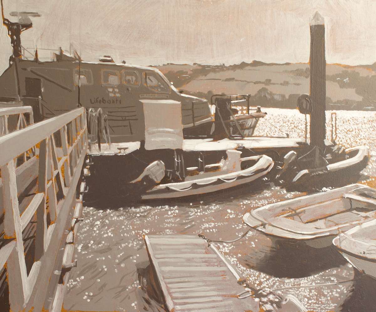 <br><em>Salcombe's lifeboat, The Baltic exchange</em>, 2019<br>Greg Ramsden<br>Oil on canvas panel, 25x30cm