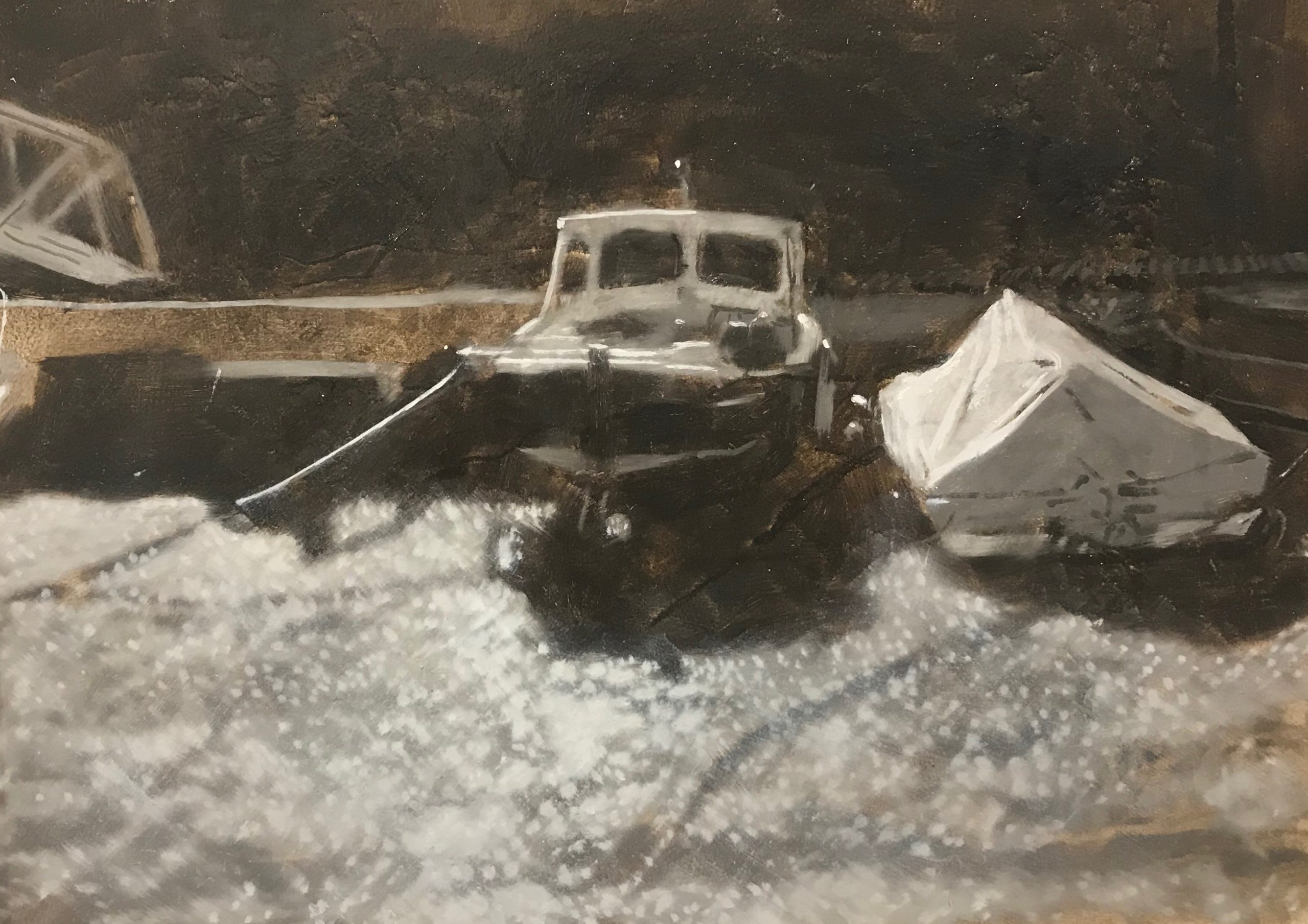 <br><em>Waiting for the tide</em>, 2019<br>Greg Ramsden<br>Oil on Panel, 30 x 25 cm