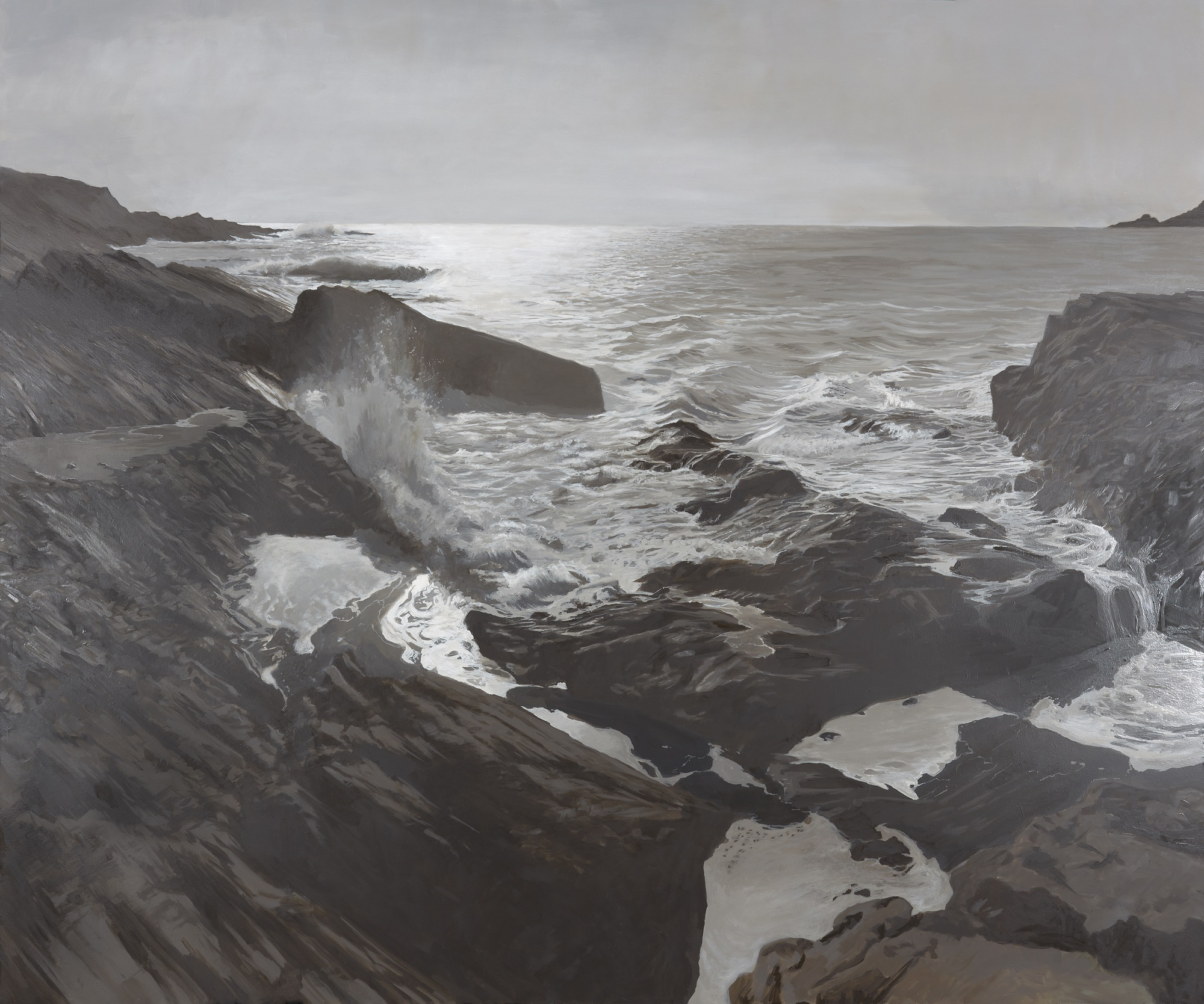 <br><em>Salcombe Estuary Mouth</em>, 2019<br>Greg Ramsden<br>Oil on board, 120 x 153 cm