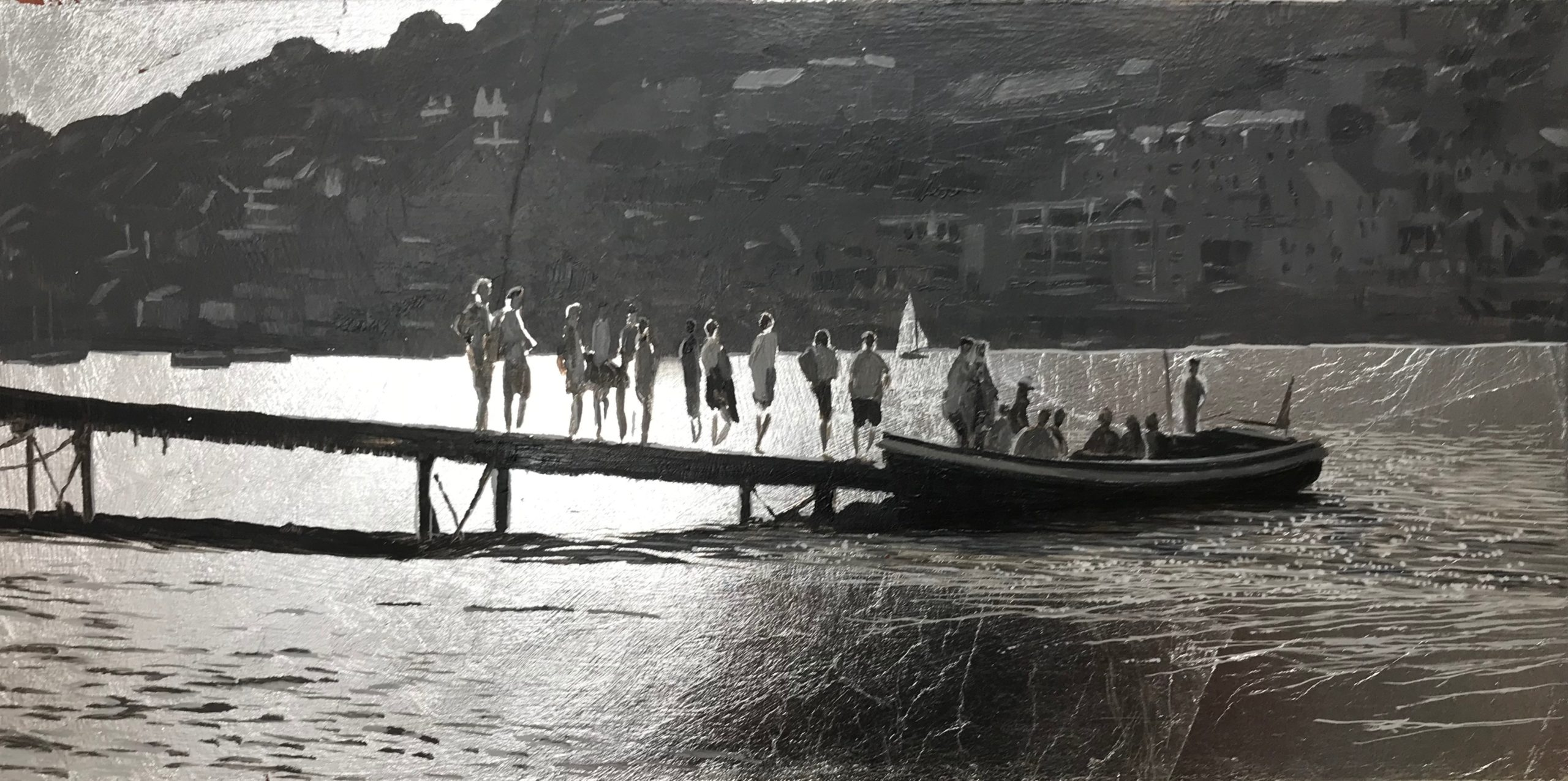 <br><em>Salcombe Ferry Silver light</em>, 2020<br>Greg Ramsden<br>Oil on silver leaf, 20 x 40 cm