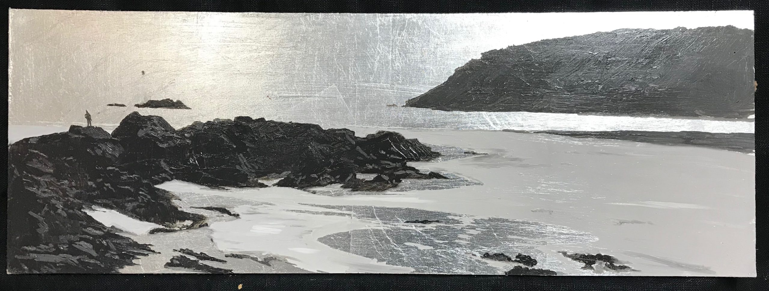 <br><em>North Sands afternoon</em>, 2020<br>Greg Ramsden<br>Silver Leaf and Oil, 20 x 40 cm