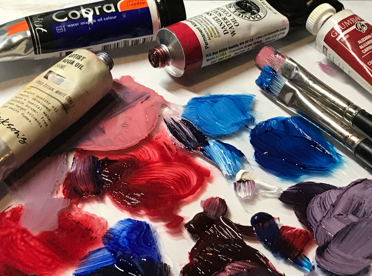 water soluble oils on a palette