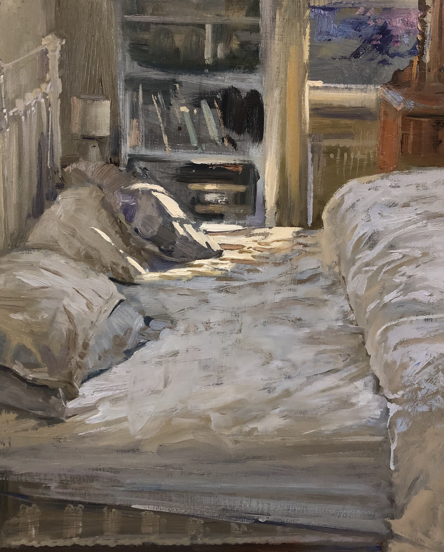 Bed sheets, 2020 Peter Brown oil on board, 12 x 10 in