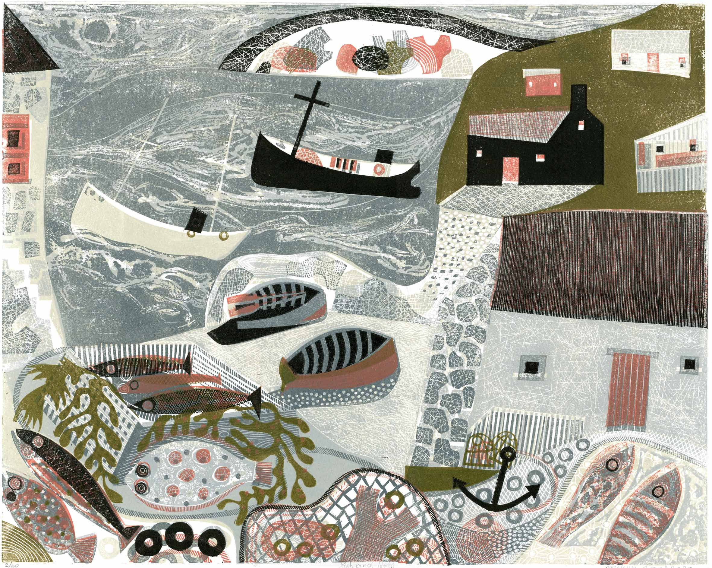 Fish and Nets Melvyn Evans Linocut print, 40 x 50cm edition of 60