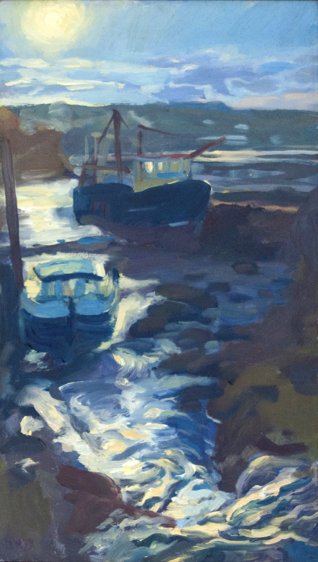 Against the light at Galmpton Creek, 2019 James Murch Oil on panel, 28 x 48 cm