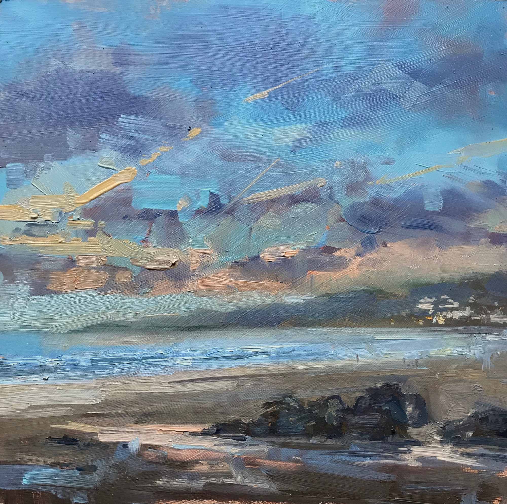 Cloud trails, evening light, 2020 Georgina Potter Oil on canvas, 23 x 23 cm