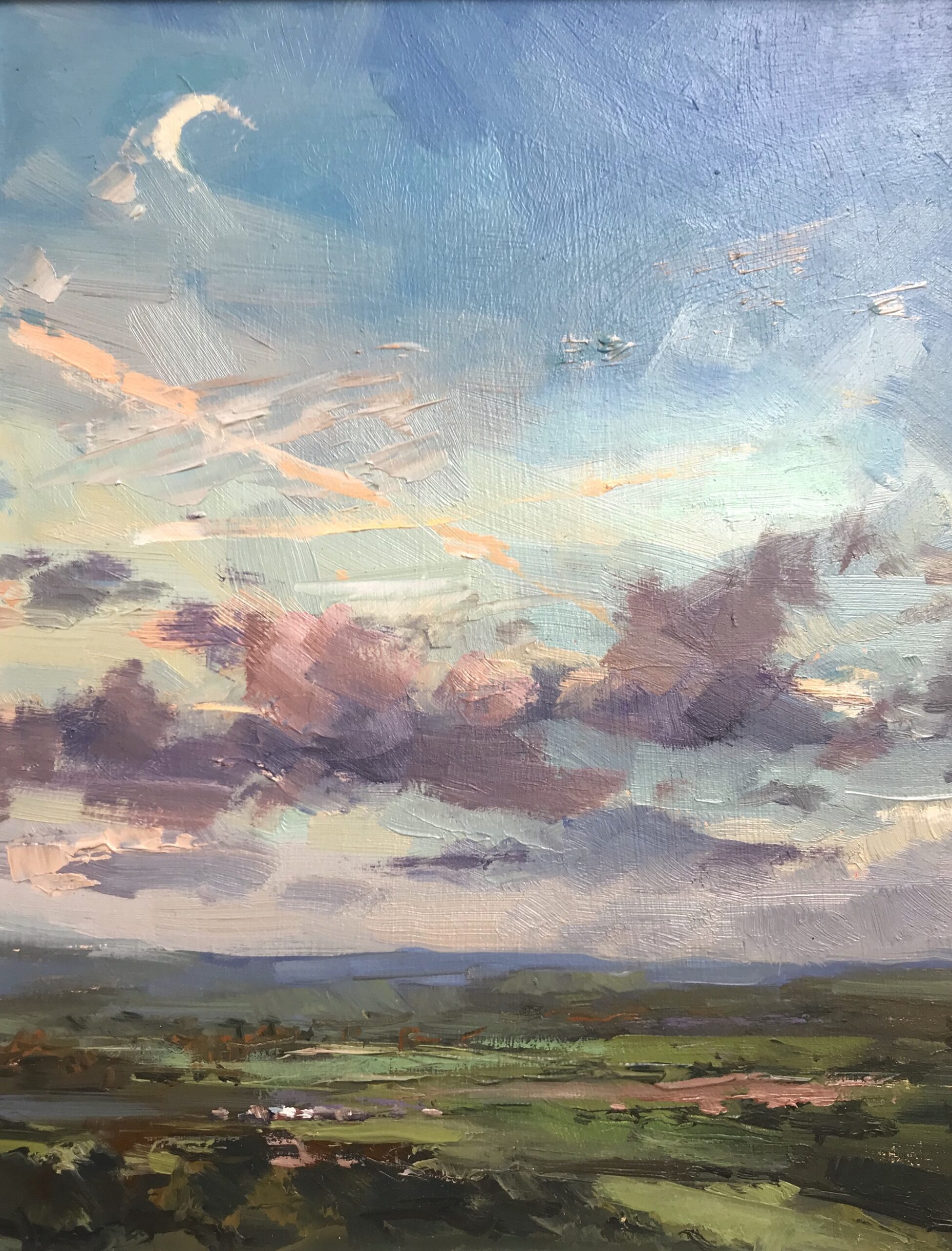 Sunset with moon, 2020 Georgina Potter Oil on board, 17.8 x 22.8 cm