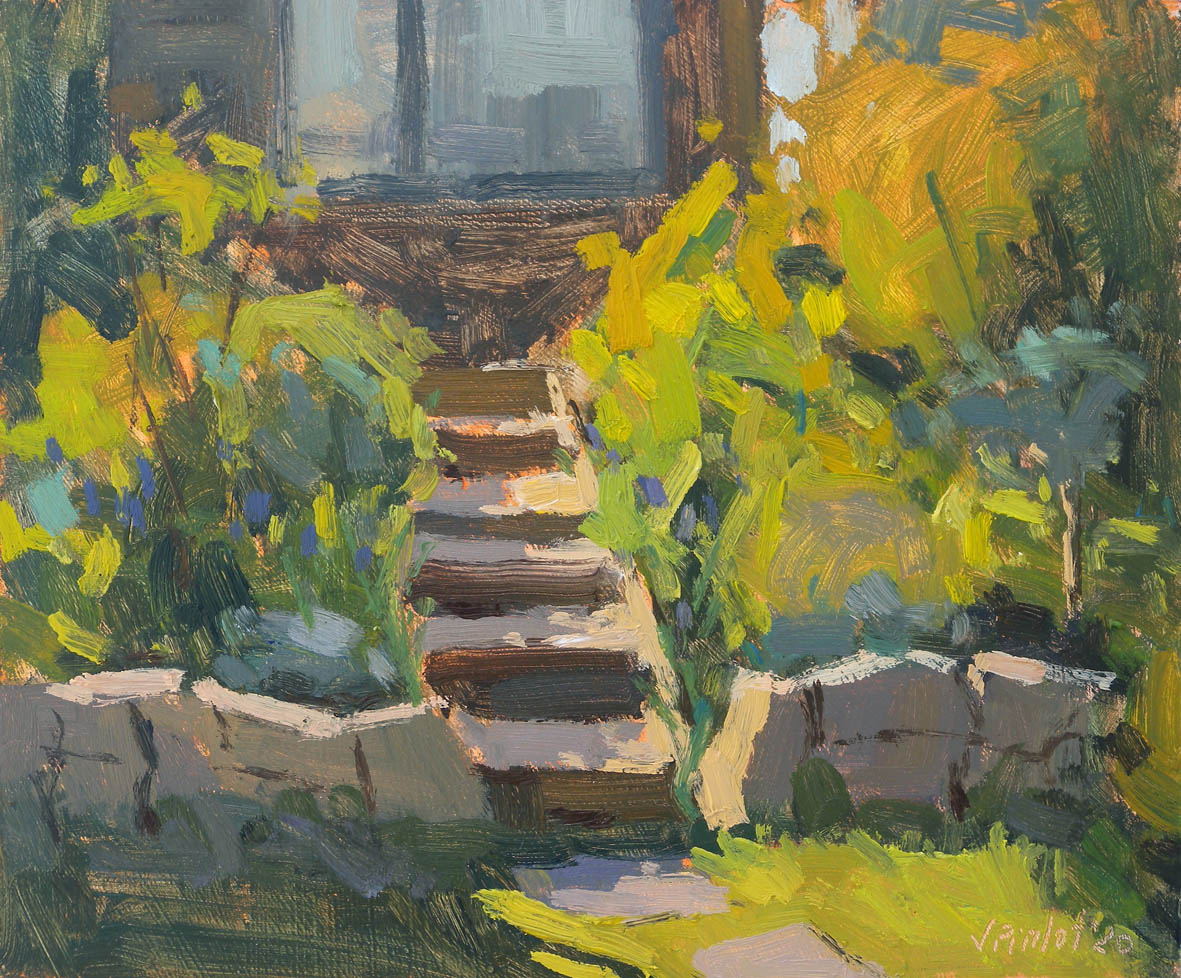 Sunny steps to the studio, 2020 Valérie Pirlot Oil on board, 20.3 x 25.4 cm