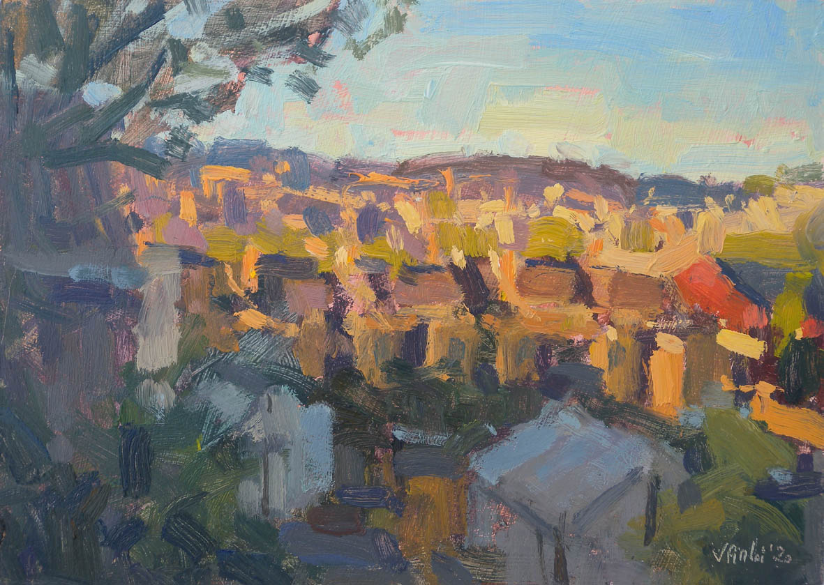 Sunset from the back of my garden, 2020 Valérie Pirlot Oil on board, 17.8 x 25.4 cm