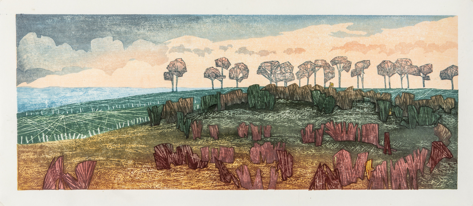 Road to Rosedale, evening light, 2020 Laura Boswell Woodblock, 475 x 190 mm