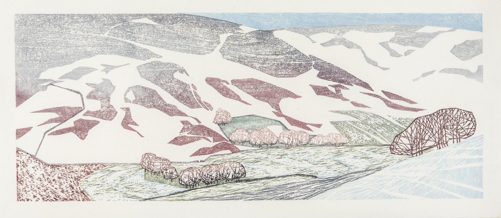 Snow on the Moors along to Hawnby, 2020 Laura Boswell ARE Woodblock, 475 x 190 mm