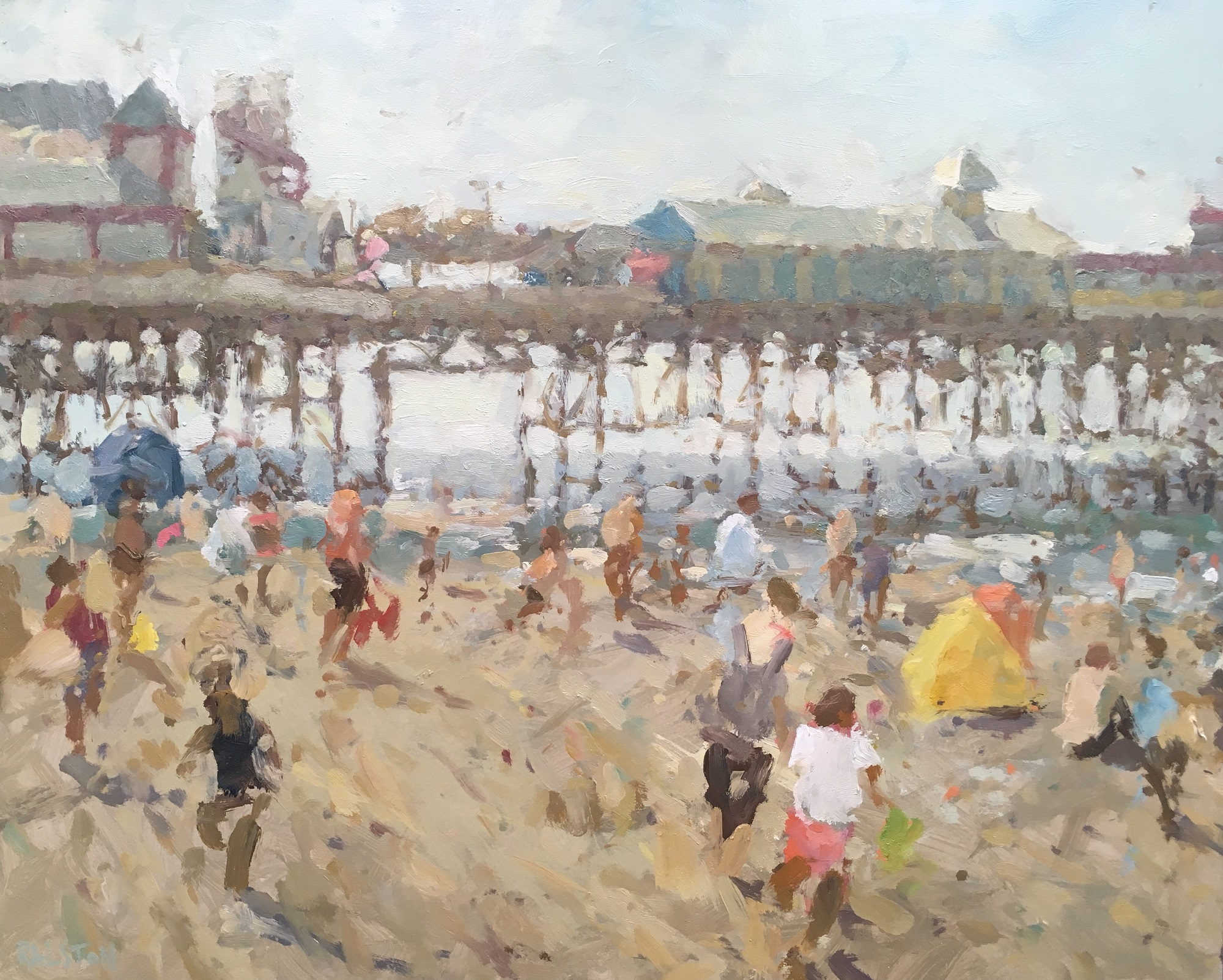 Summer Holidays, 2019 Adam Ralston oil on board, 40.6 x 50.8 cm