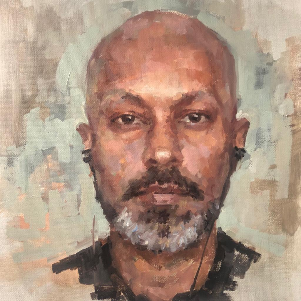 Akram Khan, Choreographer Laura Cronin Oil on canvas, 30 x 30 cm (winner of Sky Arts Portrait Artist of the Week #1)