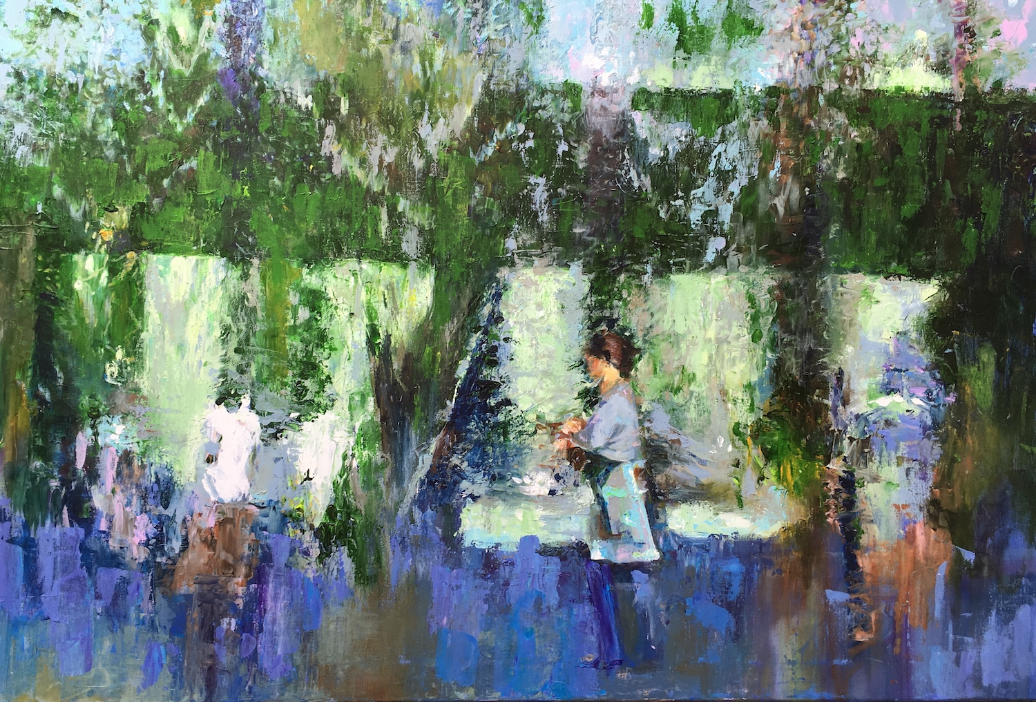 Girl behind the fountain. Hilary Burnett Cooper. Jackson's Painting Prize.