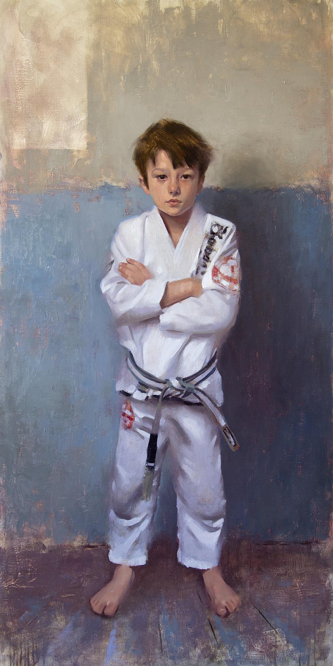 Boy in a White Gi, 2019 Alex Tzavaras Oil on Linen, 140 x 70 cm