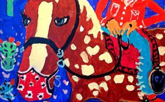 Covid Cowboy, 2020 Brian Simons Acrylic on Canvas 76 x 76 cm