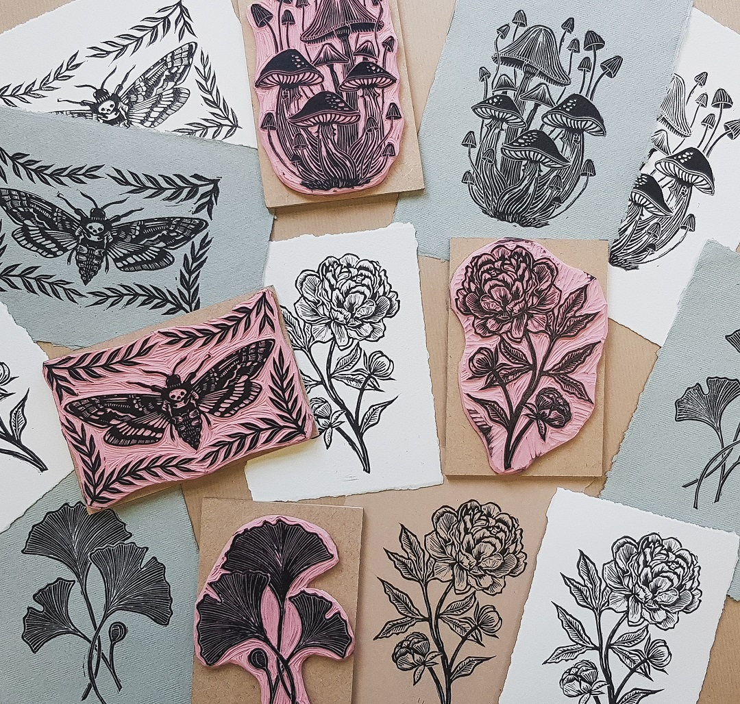 <br>A selection of prints by Rachael Louise Hibbs alongside battleship grey and Speedy carve lino blocks