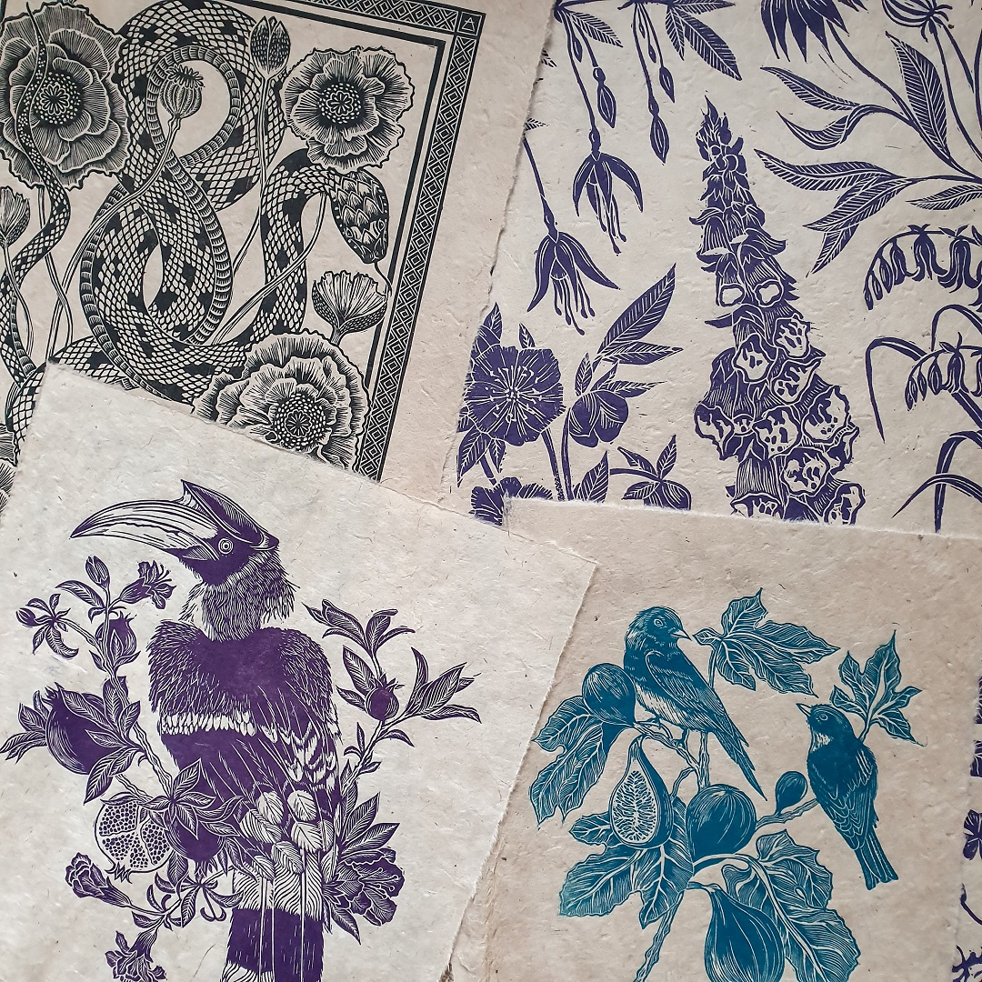 <br>A variety of colours found in prints by Rachael Louise Hibbs