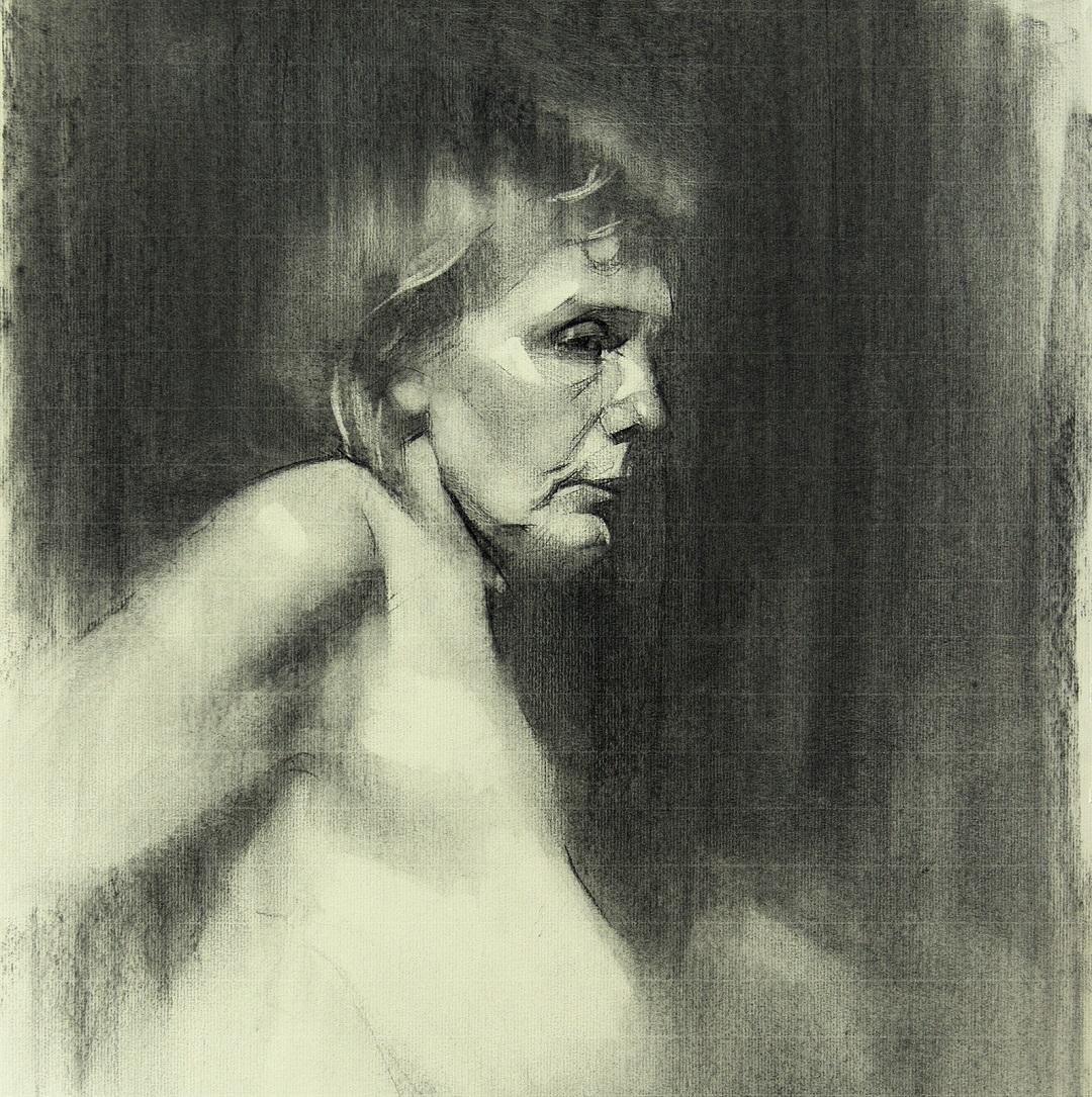 Portrait of a Naked Woman, 2019 Alex Tzavaras Charcoal on Paper, 50 x 50 cm