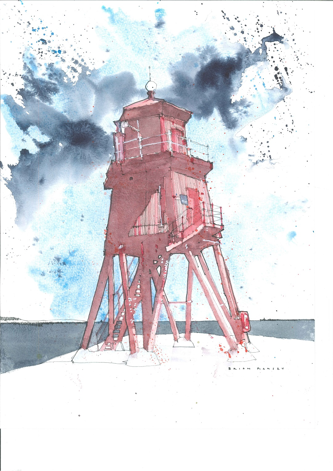 The Herd Groyne, South Shields, 2019 Brian Ramsey Pen and watercolour, 21 x 29.7 cm