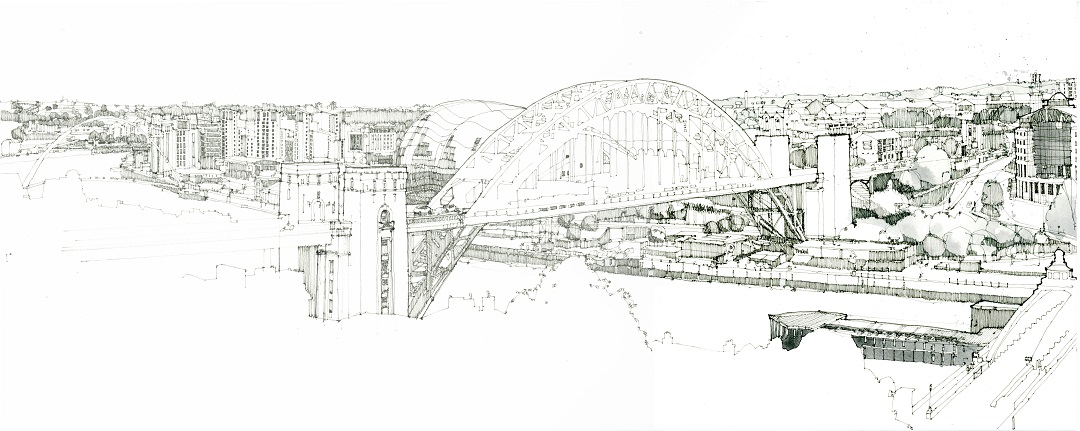 Tyne Bridge, 2020 Brian Ramsey Ink and watercolour, 28 x 70 cm