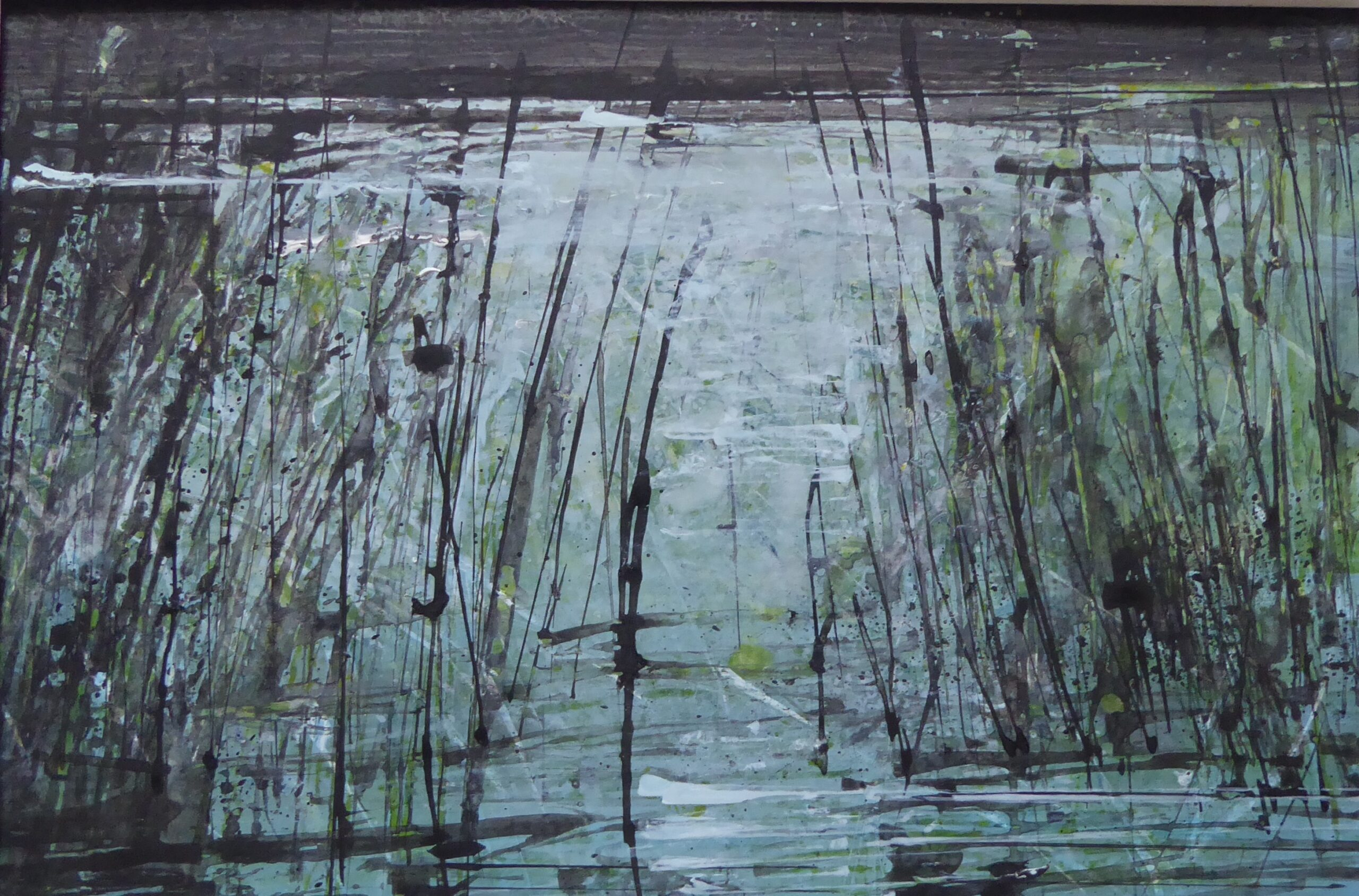 River bank reeds 2 , 2020 Ann Kilvington RI Watercolour, 18 x 20 cm