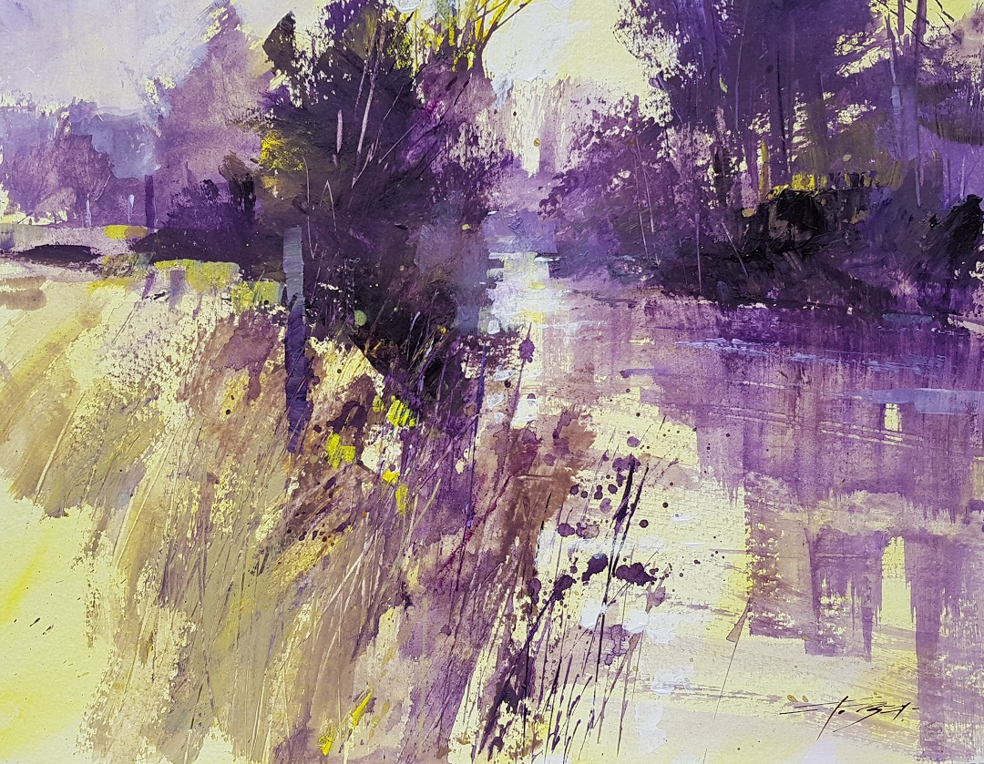 Dawn Riverside Christopher Forsey Watercolour, 30.5 x 40.6 cm