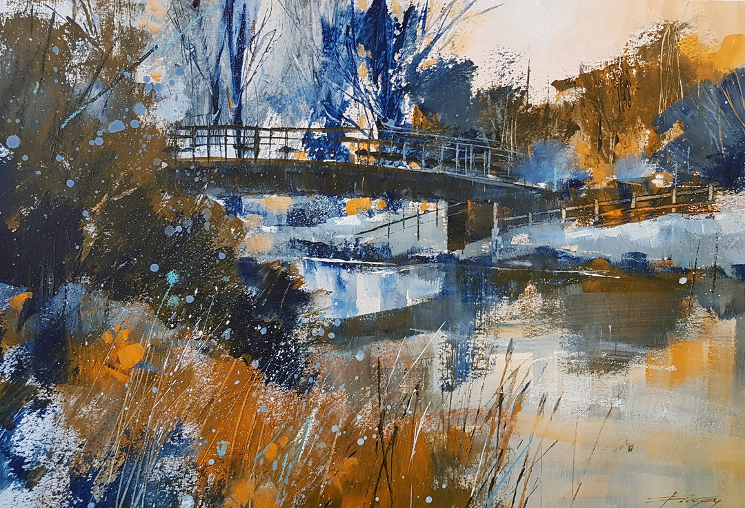 Winter Morning, The Stour Christopher Forsey Watercolour, 30.5 x 40.6 cm