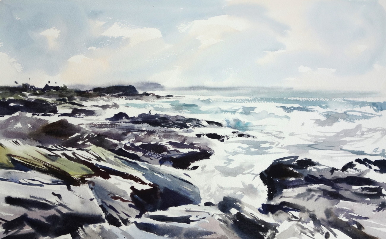 Booby's Bay, 2019 Jem Bowden Watercolour, 31 x 51 cm
