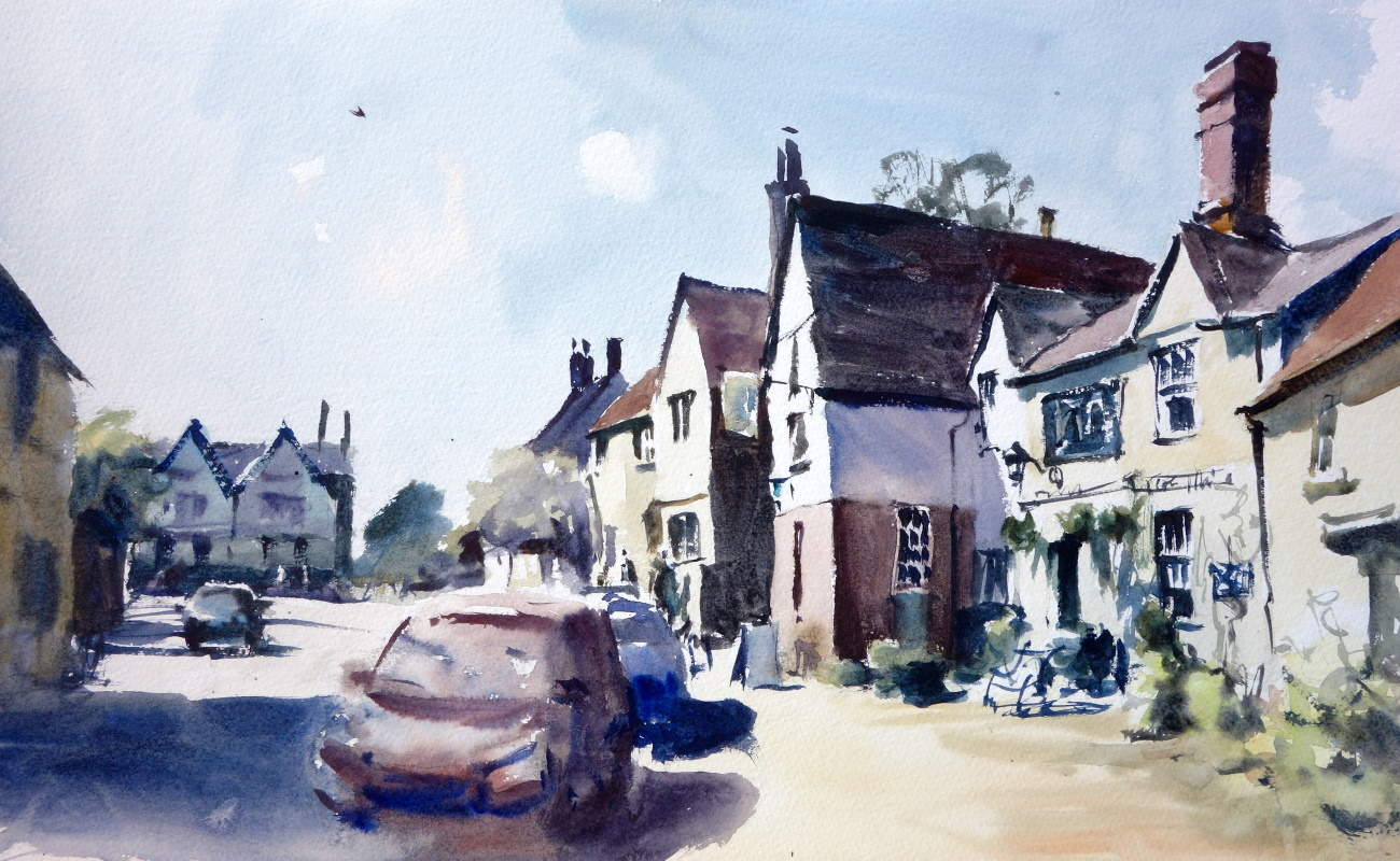 Housemartin in Lacock, 2018 Jem Bowden Watercolour, 31 x 51 cm