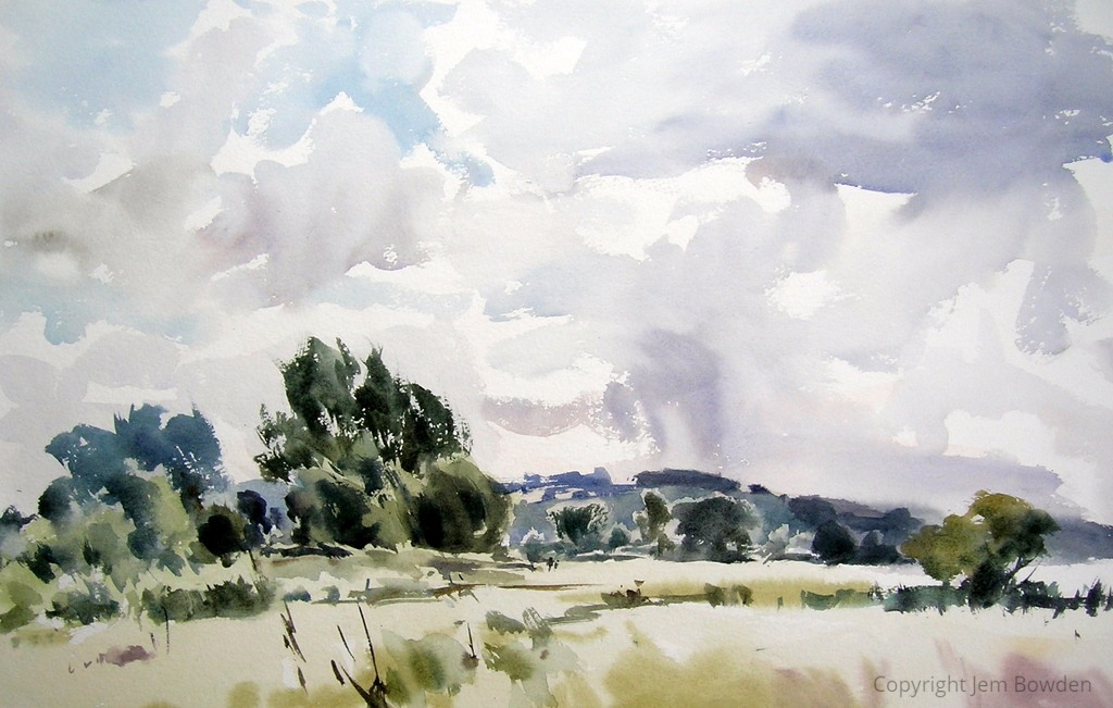 Wylye Valley Meadow, 2019 Jem Bowden Watercolour, 31 x 51 cm