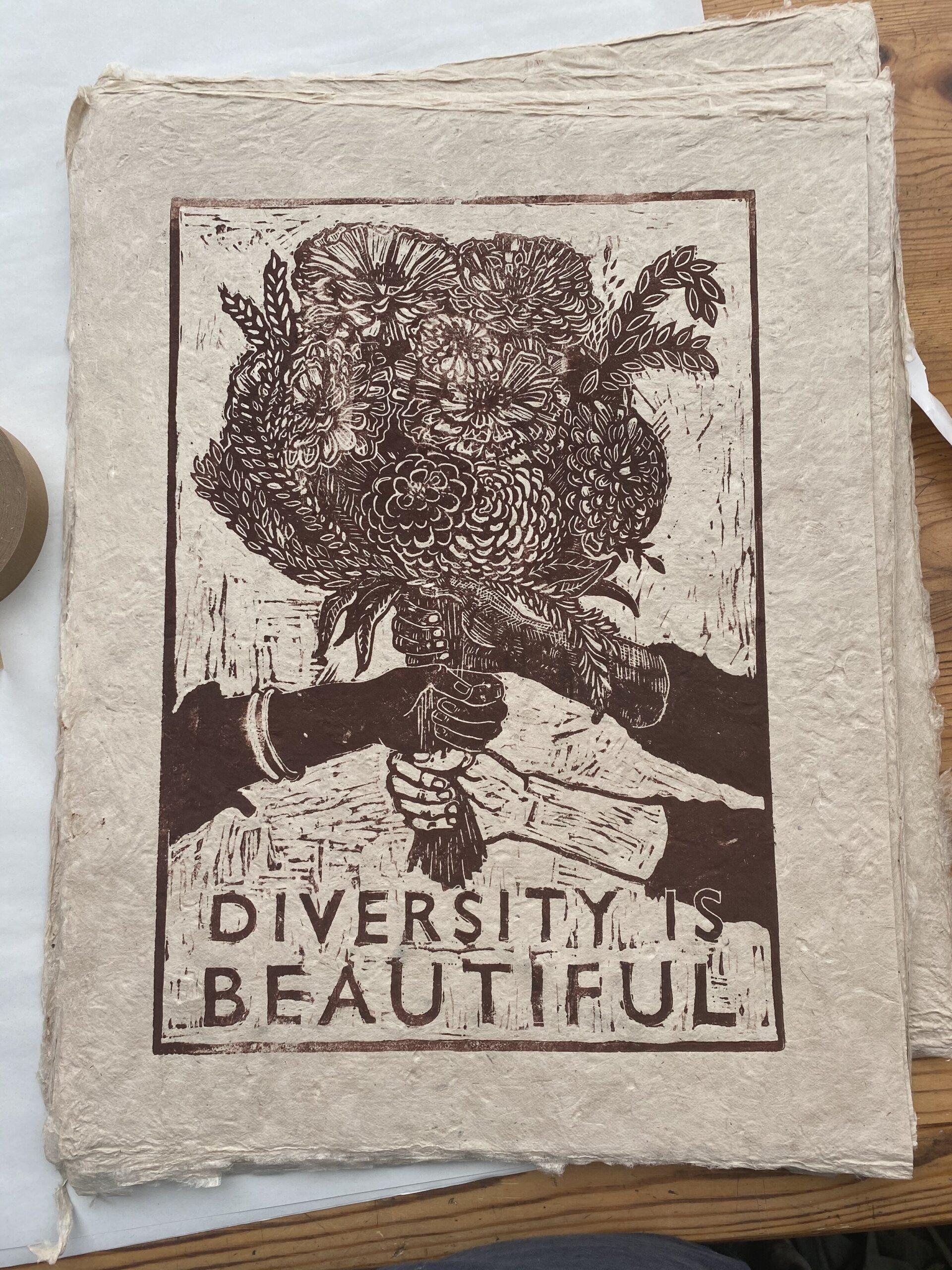 Diversity if Beautiful Rosanna Morris Linocut, 42 x 30 cm