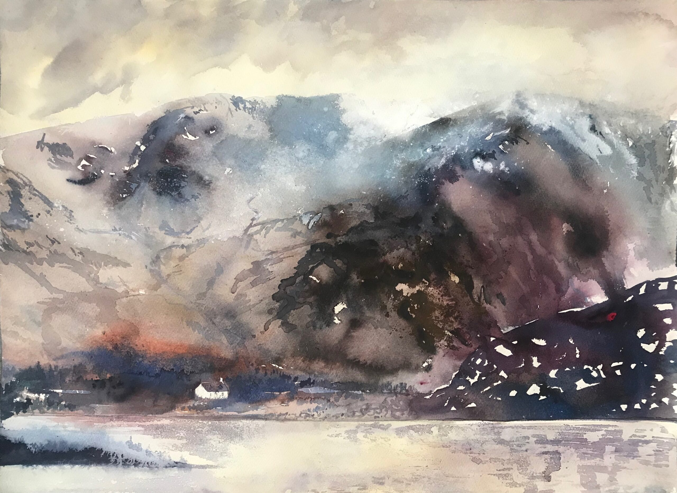 Lone cottage, a dusting of snow on the mountains, Isle of Skye, 2020 Sophie Knight Watercolour, body colour, 56 x 76 cm