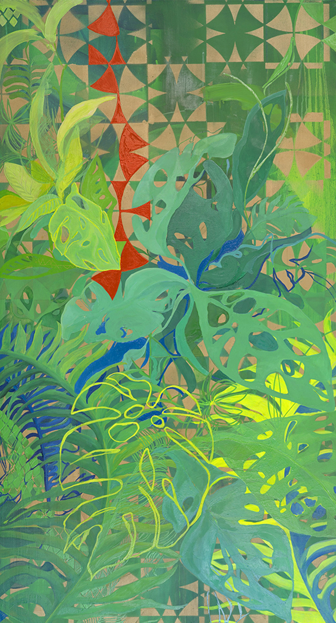 Tobagan Forest, 2019 Bryony Benge Abbott Oil and spray paint on board, 89 x 100 cm