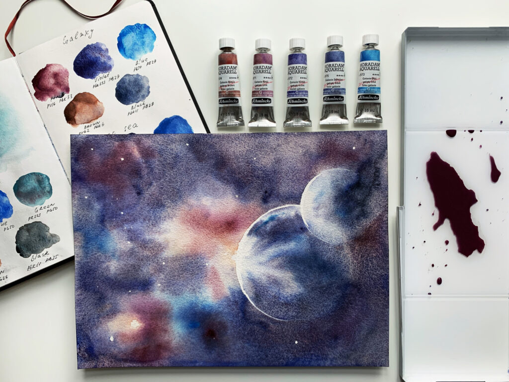 Painting with the galaxy series of super-granulating colours