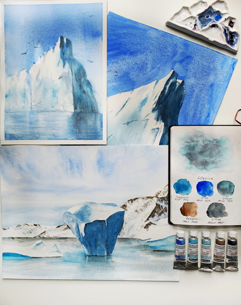 Painting with the glacier series of super-granulating colours